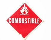 Plastic Combustible Sign, Reversible, Flammable Warning, Industrial Signage