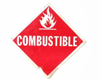 Plastic Combustible Sign, Vintage Reversible Flammable Warning Industrial Signage, Fun Mancave or Dorm Decor
