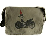 Biker Gnome Mens Messenger Bag, Hand Screen Printed Cotton Canvas, Gift for Men, Computer Bag, Mens Diaper Bag, Day Bag, Gift for a Biker