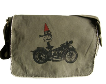 Biker Gnome Mens Messenger Bag, Hand Screen Printed Cotton Canvas, Gift for Men, Computer Bag, Mens Diaper Bag, Day Bag, Gift for a Biker