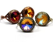 Swarovski Crystal Cocktail Ring Bright Yellow Deep Burgundy Cognac Fiery Topaz Shimmering Sun Red Gold Fall You Choose Color & Finish Crown