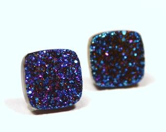 Blue Druzy Stud Earrings Mirror Metallic Sparkling Sugar Drusy Quartz Agate Geometric Squares Peacock Bright Royal Navy Indigo Sterling Post