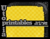 Yellow Checkerboard Scrapbook Paper