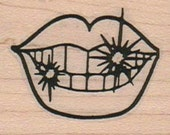 Sparkling Teeth Large  rubber stamps place cards gifts  unmounted cling stamp or wood mounted 908
