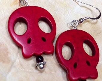 Skull  turquoise earrings      drop earrings, pierced red jewelry  gift for her  DRW77 Halloween