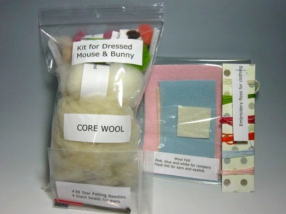 Needle Felting Kit / No Instructions / Fiber and Textile Art Supplies / Supplies for Dressed Class / Wool Roving Wool Fleece Needlecraft Art