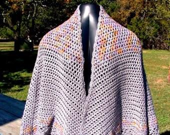 Silver Cape - Handmade Crochet - Winter Fall Accessory