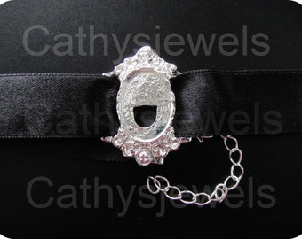 Cameo Setting Choker Polished Silver 18x13