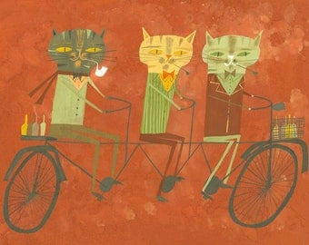 Three philosophers on a tandem bicycle. Limited edition 11x14 print by Matte Stephens.