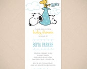 Snoopy and Woodstock Stork Cute Baby Shower Invitation Printable Digital File