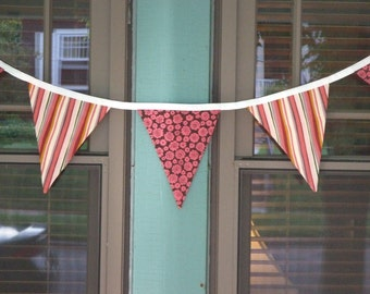 Pink and Brown Floral and Striped Decorative Flags - Birthdays, Holidays, Everyday