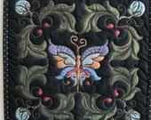 Butterfly Wall Hanging Quilted Hand Painted Purple, Pewter, Gold, Blue, Russet