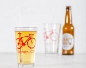 DENVER, COLORADO BIKE Glasses - printed bicycle pint drinking cups