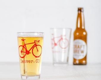 DENVER, COLORADO BIKE Glasses - printed bicycle pint drinking cups
