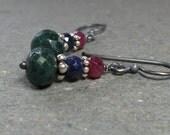 Emerald Earrings Sapphire Earrings Ruby Earrings Oxidized Sterling Silver Earrings Gemstone Earrings