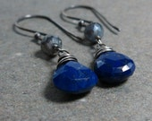 Lapis Lazuli Earrings Lapis Earrings Labradorite Earrings Oxidized Sterling Silver Earrings