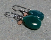 Green Onyx Earrings Peach Moonstone Earrings Oxidized Sterling Silver Earrings