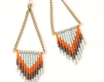 SALE Chevron seed bead earrings - sky blue, harvest and brown