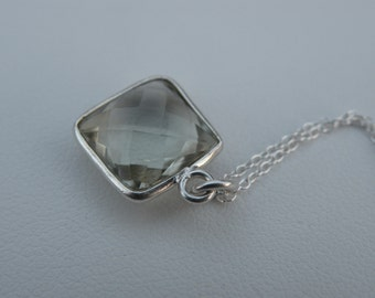 Necklace Light green amethyst pendant sterling silver chain holiday gift under 50 jewelry trends