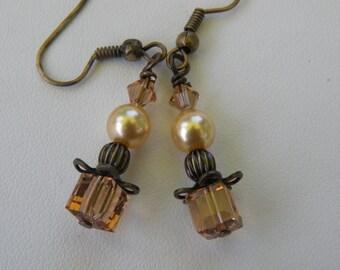 Earrings-  Brass Gold Pearl Tan Swarovski Crystal Dangles by Sterling Creations