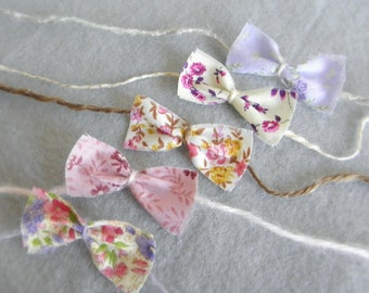 Set of baby headbands tie backs halo floral fabric bow flowers spring photography photo prop newborn toddler girl choose any 3 or 5