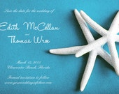 25 magnets per set- 4x6 Wedding save the date Magnets- WHITE STARFISH on blue