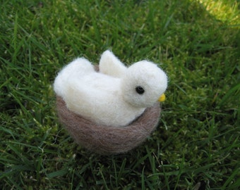 Needle Felted Dove with Nest