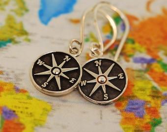 Patina Star Compass Earrings
