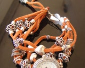 Orange Suede Faux Leather and Sterling Silver Watch