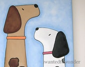 Sale. Dogs Wall Art 11x14 Puppy DADDY and Me.. Pet Artwork for Baby Nursery or bath. Shower Gift.  Painted and ready to ship