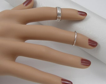 Above the Knuckle Ring Set, Plain Round, Set of 3