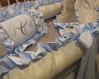 Custom Faux silk and Satin Nursery Crib Bedding Set Ask about other colors