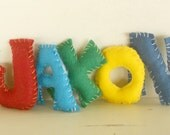 Alphabet Felt Letters, Personalize, All Natural and Eco Friendly, Waldorf Soft Plush Toy Set, Choose Your Letters, Set of 7 letters