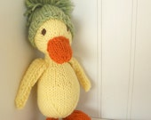 Natural Stuffed Animal Toy -  Puddles the Duck -  handKnit by Woolies