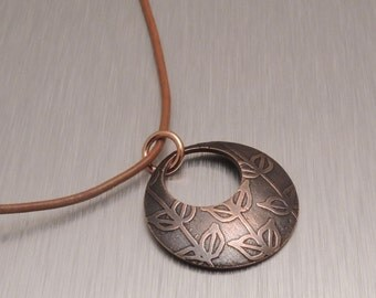 Etched Copper Pendant - Vines