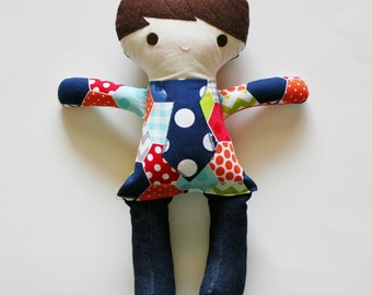 Funky Fabric Boy Doll, Hexies