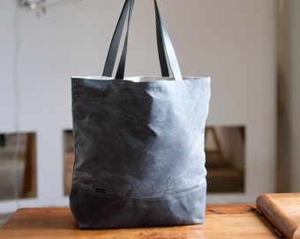 waxed canvas tote bag - The Shopper no.2 in two color options