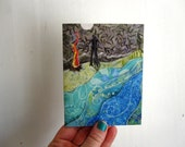 Campfire Stories, illustrated blank card, camping river hike blue, glossy finish