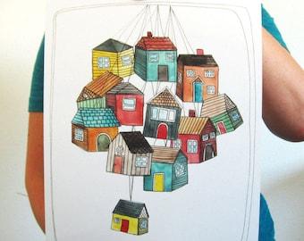 Art - Illustration - Art Print - Fine Art Print - Illustration Art - Illustration Print - 11 x 14 Art Print - My Thoughts are Like Houses