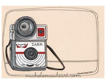 Wall Art - Lark Camera Print - Vintage Camera Print - Camera Artwork - Camera Art - Camera Illustration - 8x10 Print - Lark Imperial