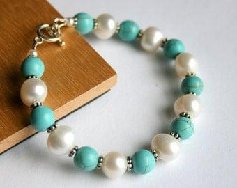 Turquoise Pearl Bracelet, Blue Bracelet, Magnesite, Sterling Silver Jewelry