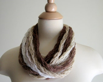 Link-Up Chain Scarf - Coffee Shop - Super Soft Chain Scarf, Neck Warmer, Cowl, Necklace - Creams, Browns - Autumn and Winter