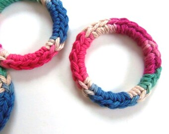 Cat Toys Ferret Toys Recycled Rings Toy Blue Pink Red Green Tan Brown