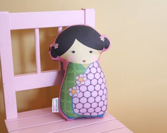stuffed Doll Kokeshi by PETUNIAS - pillow  japanese kimono plush softie room decor toddler baby gift photo prop toy pillow ready to ship