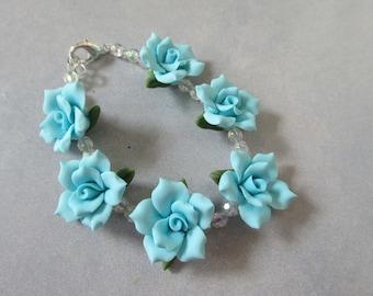 Turquois Cold Porcelain Floral Bracelet