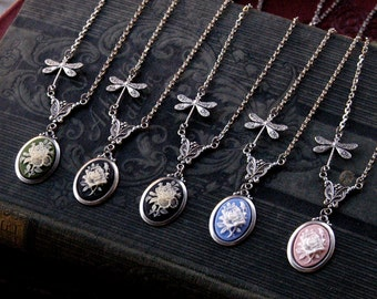 Flower Cameo Necklace- Choose a color