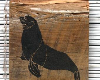 Seal Wall Hanging on Reclaimed Barn Wood
