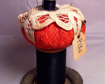 Pincushion on Wooden Spool pin cushion pin keeper