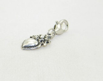 Tibetan silver heart with flower lobster claw charm for link bracelet and necklaces, clip on charm, purse charm, backpack charm, zipper pull