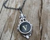 Letter V  Typewriter Key  Necklace